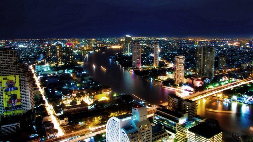 Бангкок вид сверху ночью