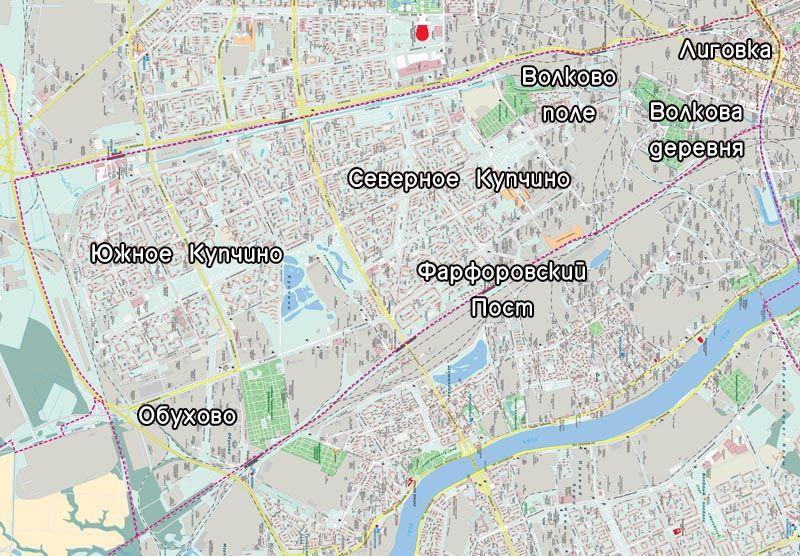 Район Купчино на карте