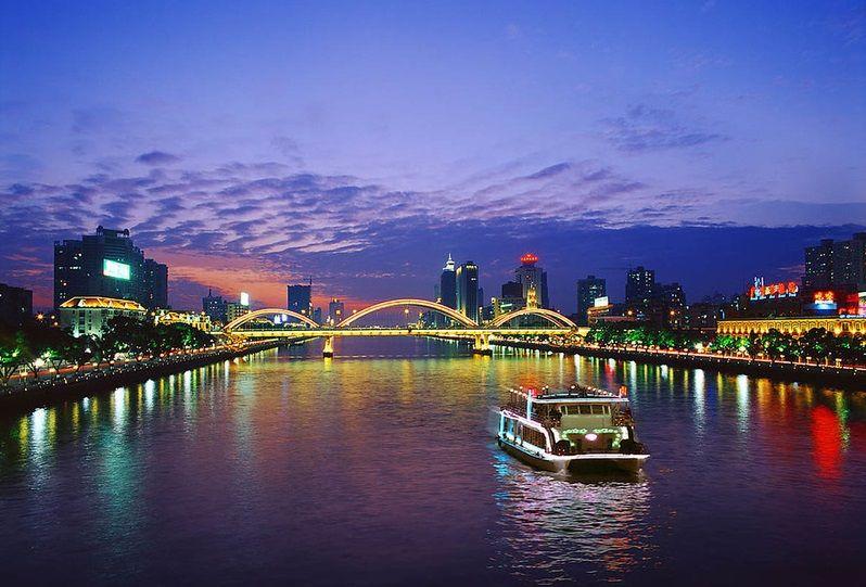 Чжунцзян ночью, Гуанчжоу, китай