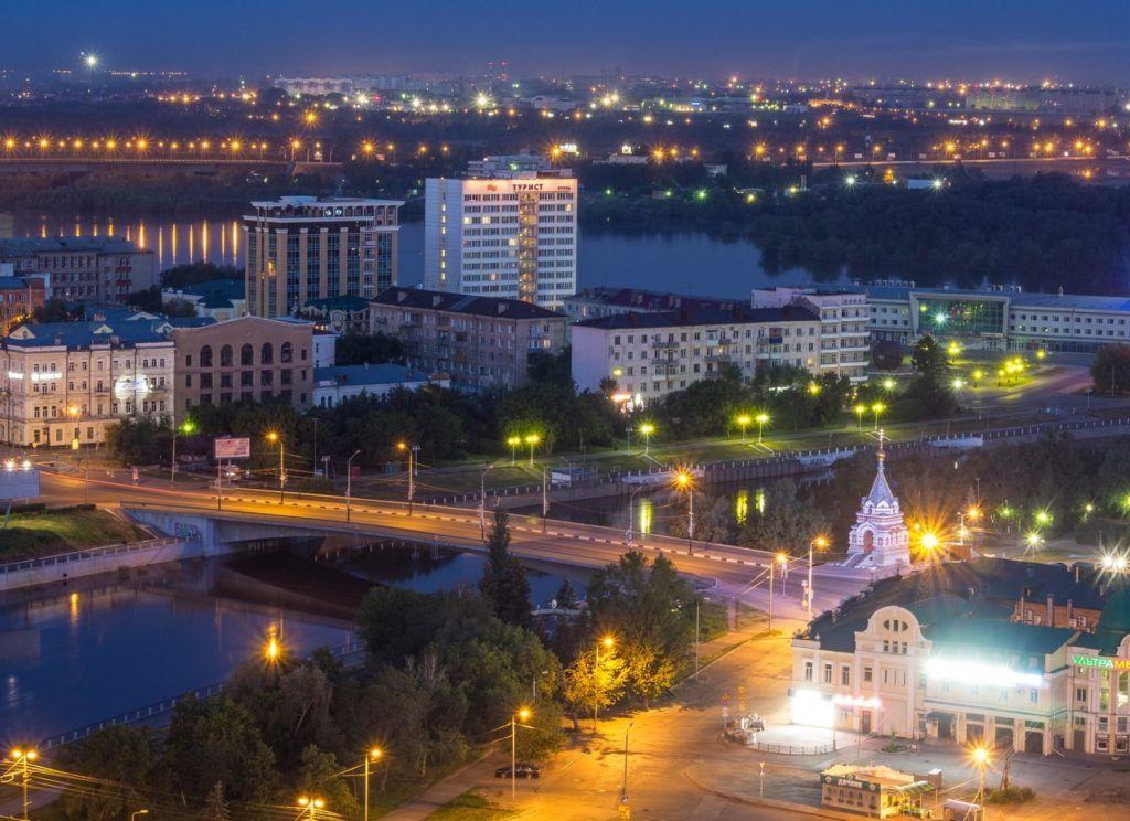 """Мост """"Юбилейный"""" вечером, Омск"""
