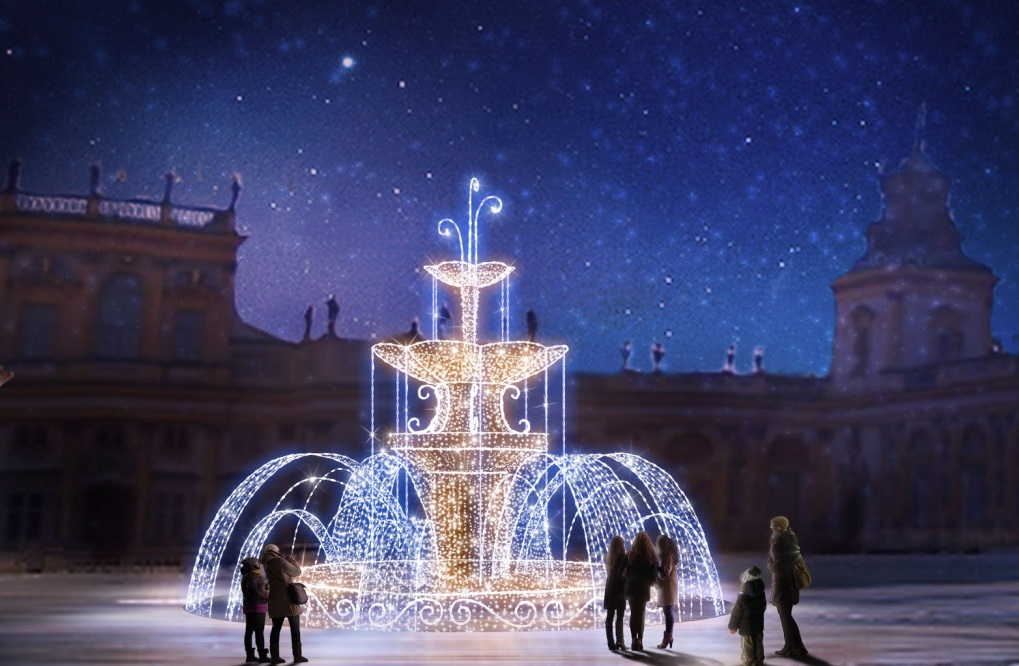 Световое шоу в Королевском саду Виланов, Варшава