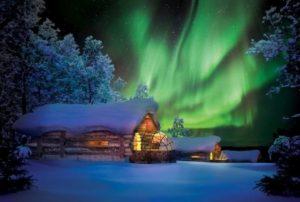Северное сияние в Рованиеми, Лапландия