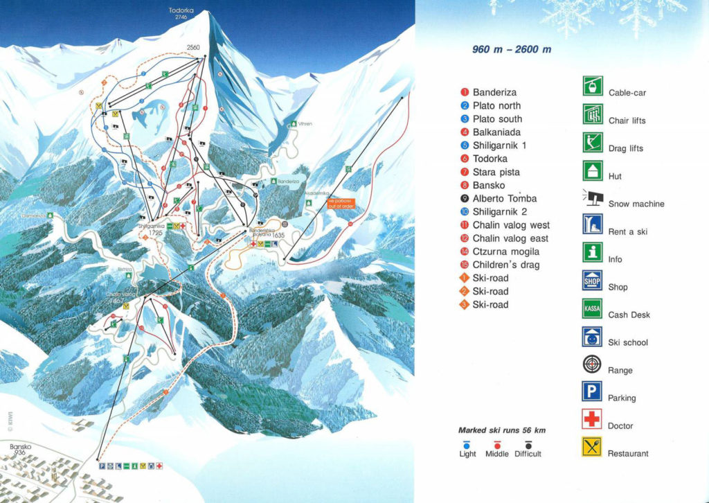 Карта трасс Банско