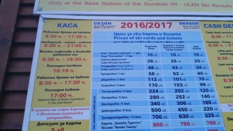 Стоимость ски-пасса в Банско на 2016-2017 год