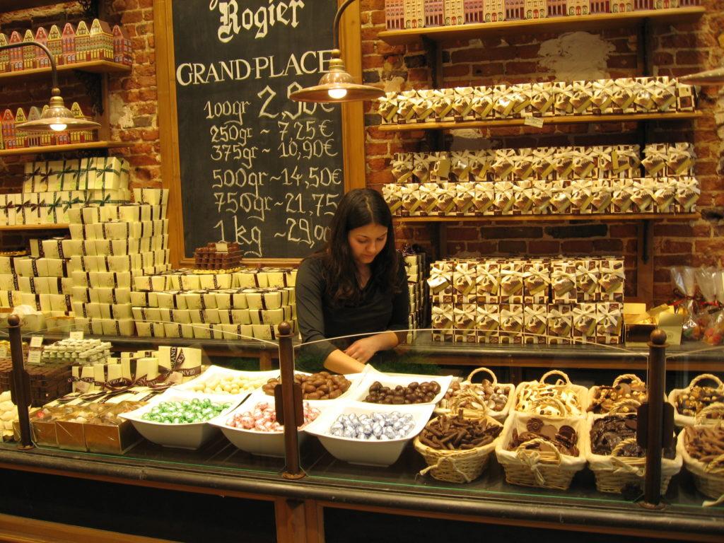 Шоколадные лавки Брюгге